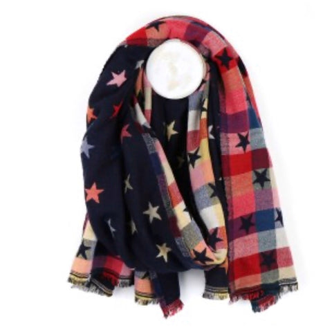 Multi coloured star scarf in navy or grey