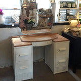 Vintage dressing table in old white