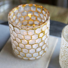 Load image into Gallery viewer, White and Gold Honeycomb Tealight Holder