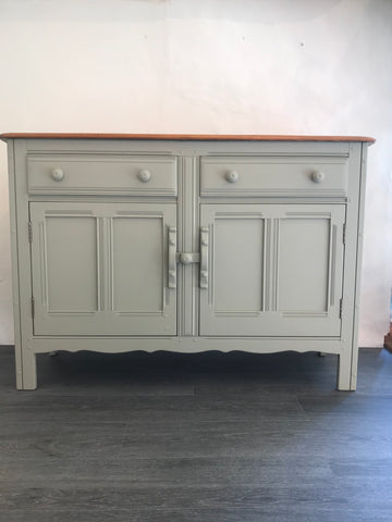 Upcycled Ercol Elm sideboard in Pale green SOLD - La Di Da Interiors