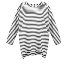 Load image into Gallery viewer, Robyn Top Charcoal Grey & White Stripes