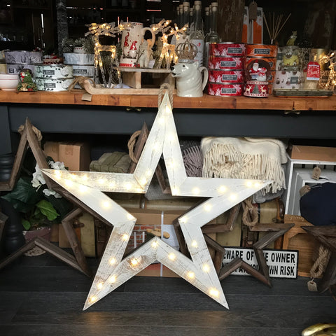 Large Handmade wooden whitewash LED star
