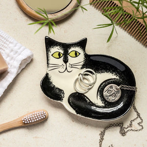 Handmade Black and White Cat Trinket Dish