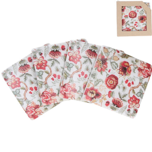 red flowers coasters