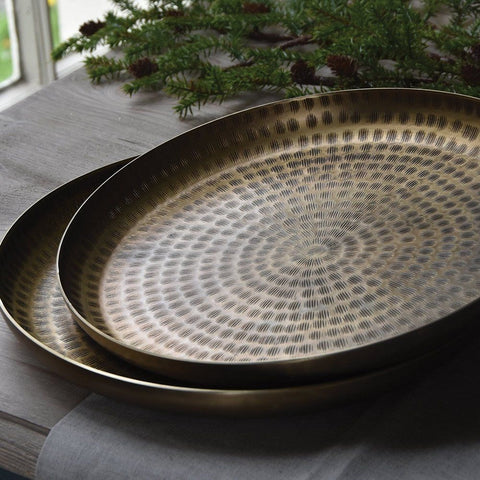 Large round brass tray