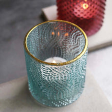 Charger l'image dans la galerie, Aqua and Gold Glass Tealight Holder