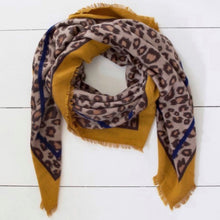 Load image into Gallery viewer, Mustard leopard print scarf - La Di Da Interiors