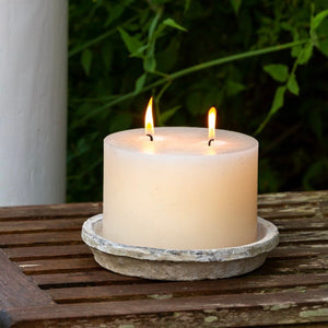 Rustic Large Pillar Candle with Aged Teracotta Saucer