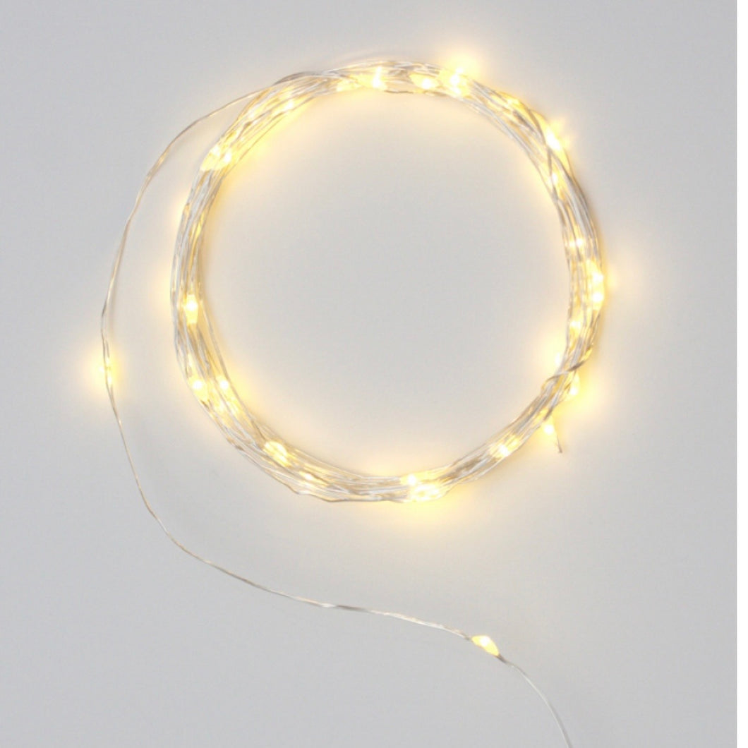 Silver Outdoor LED Warm White Fairy Lights