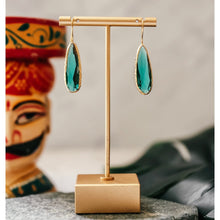 Load image into Gallery viewer, Long Emerald Green Drop Earrings