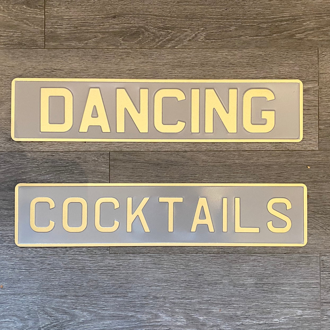 Cocktails Sign in Grey & Gold