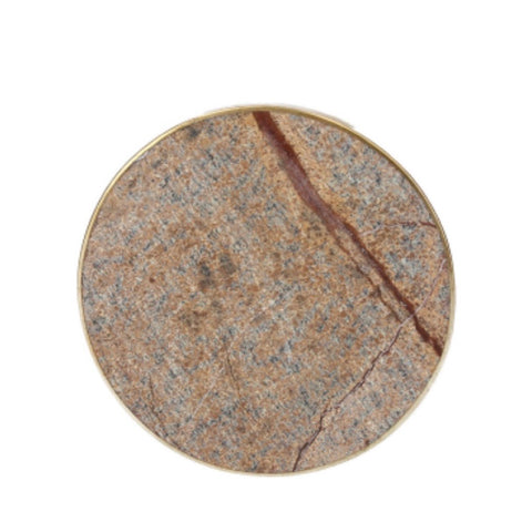 Brown marble coaster with gold rim