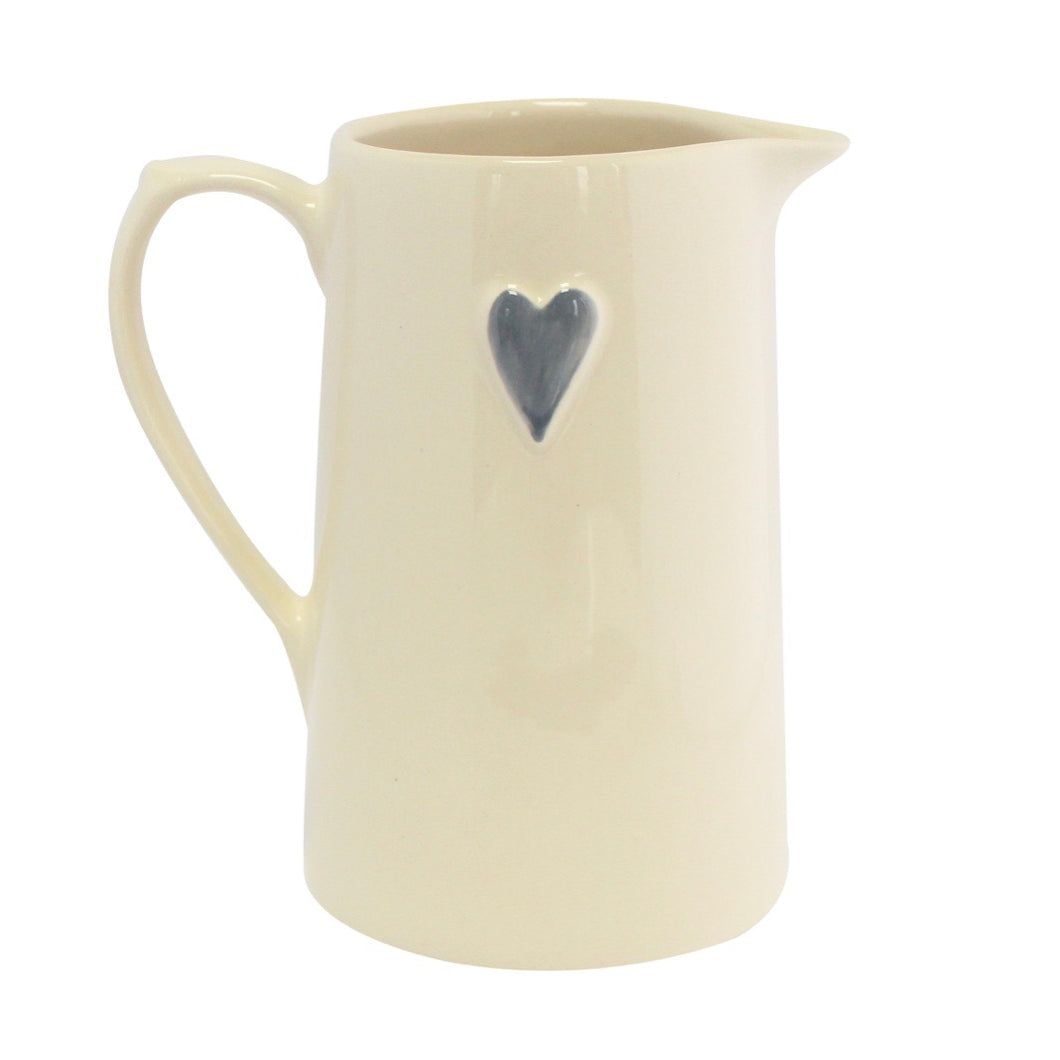 Grey Heart Jug Large - La Di Da Interiors