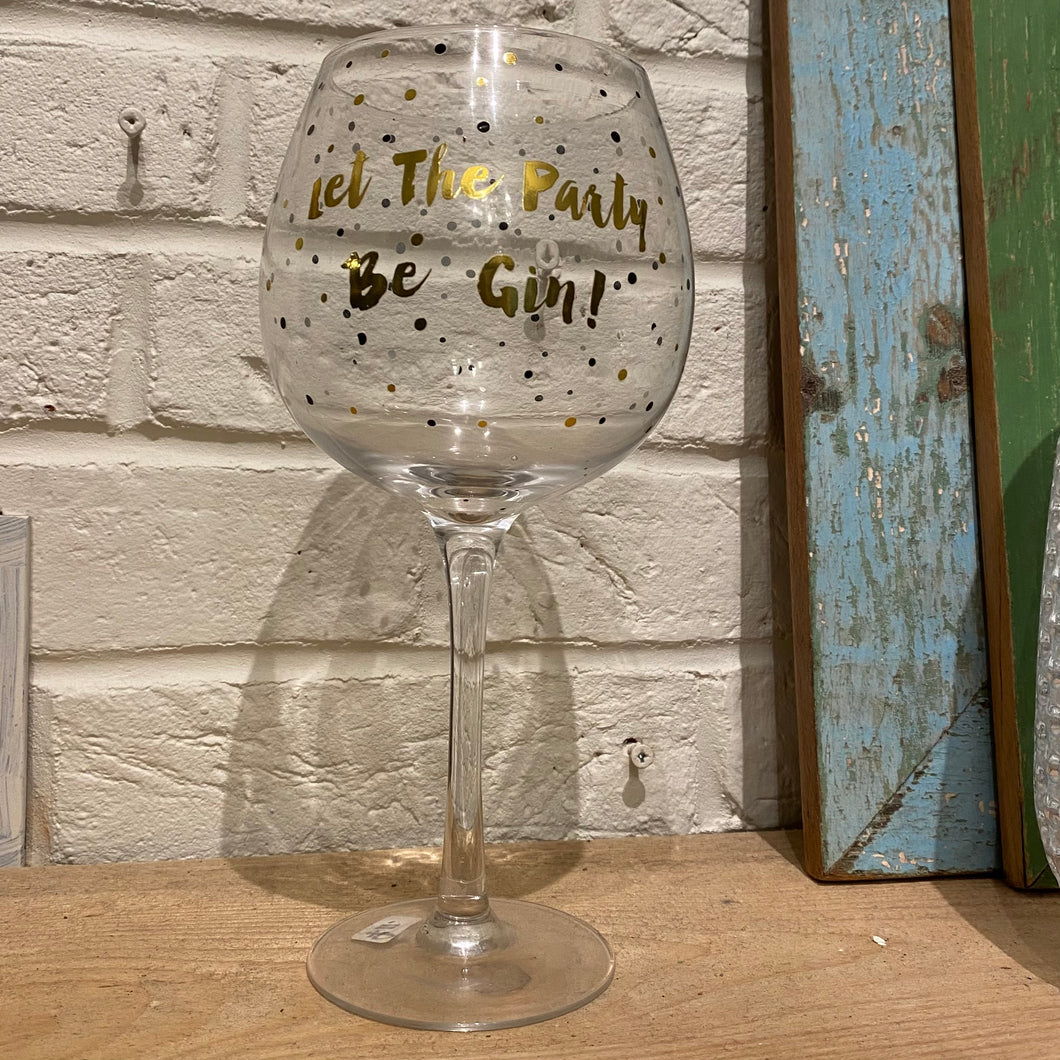 Gin Balloon Glass with gold writing
