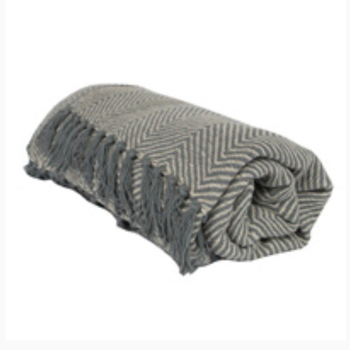Grey Cotton Throw - La Di Da Interiors