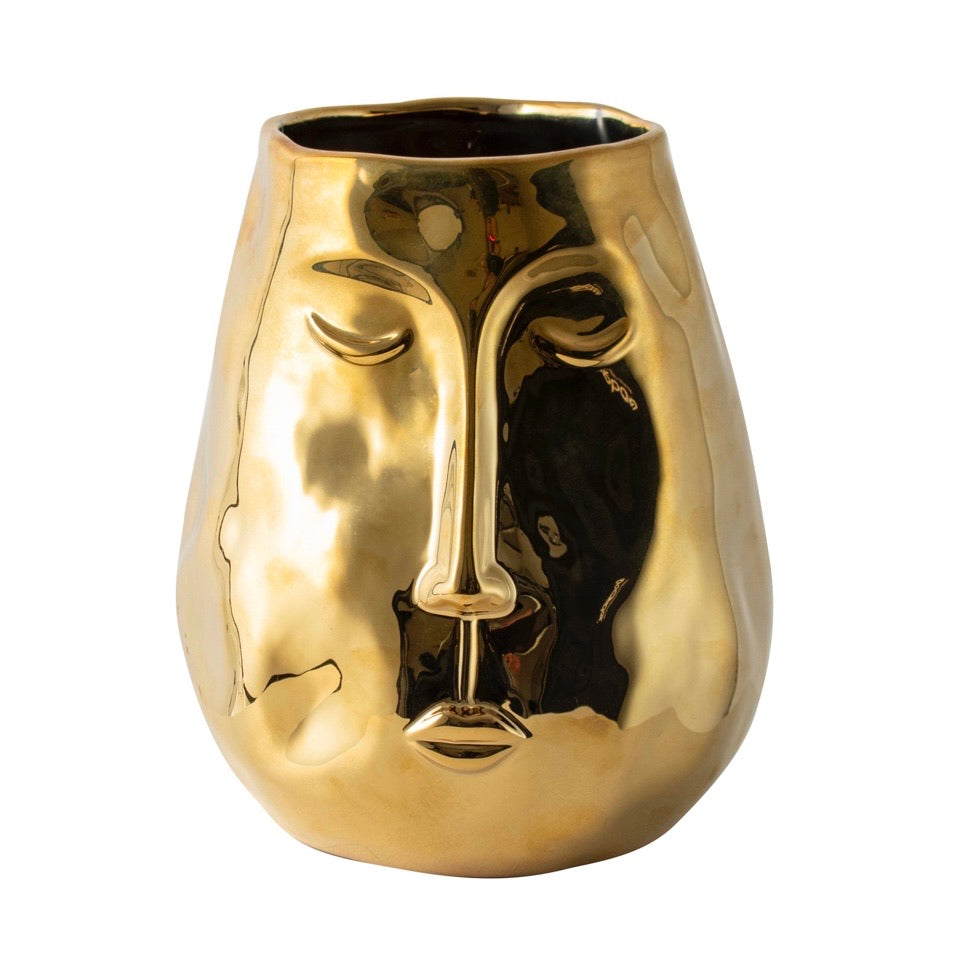 Gold Face Vase Medium