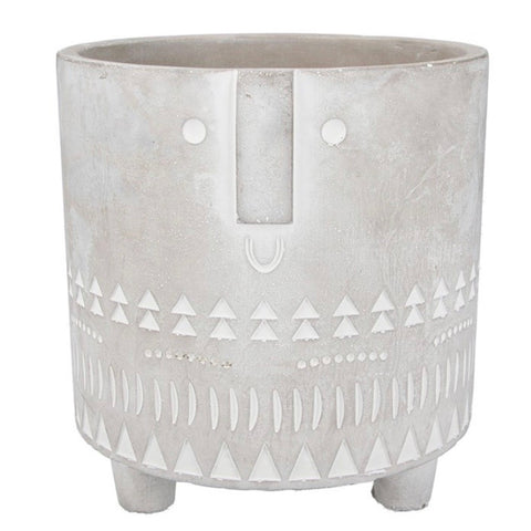 Concrete Face Plant Pot Cover Large