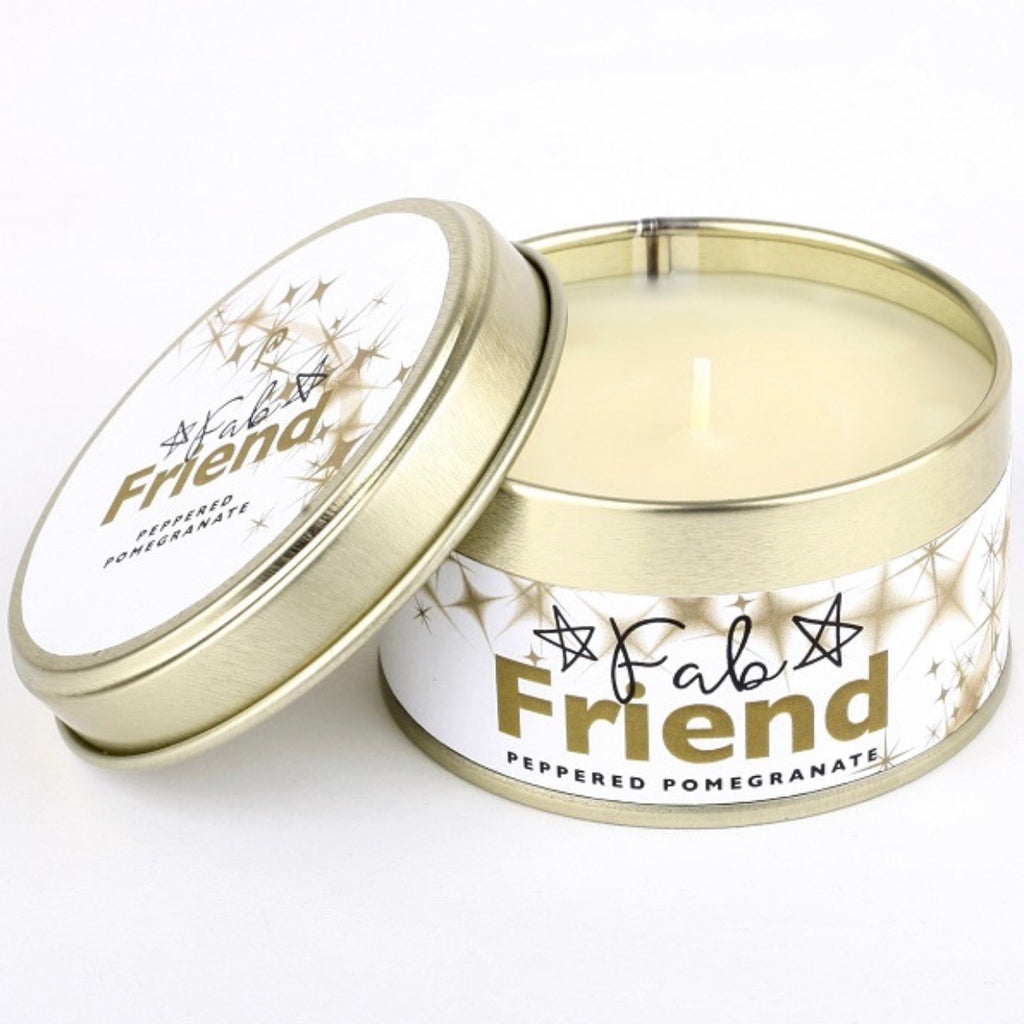 fab friend candle in a tin gift