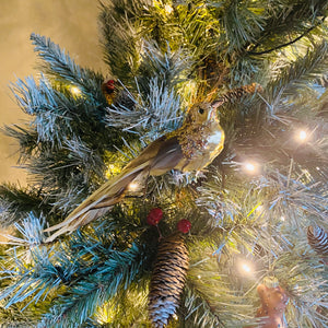 Gold Glitter Clip on Bird Tree Decoration
