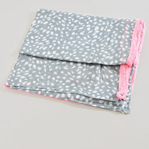 Animal Print Grey & Pink Scarf