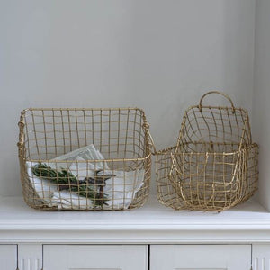 Gold Matt Metal Baskets Set of Three