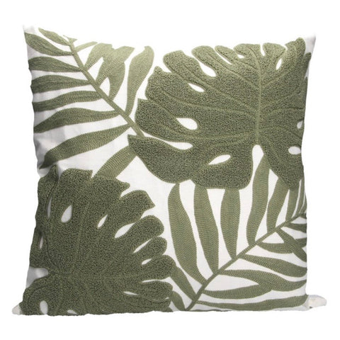 Cheese plant green crewel work cushion