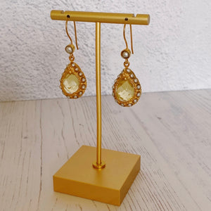 Pearl and Lemon Topaz Drop Earrings