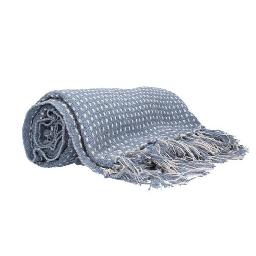 Blue Stab Stitch Cotton Throw