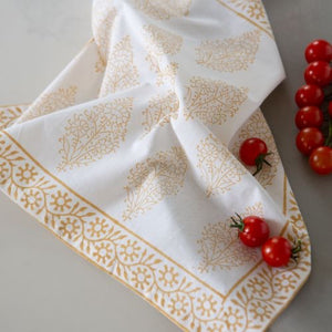 Saffron Cotton Hand Block Printed Tablecloth