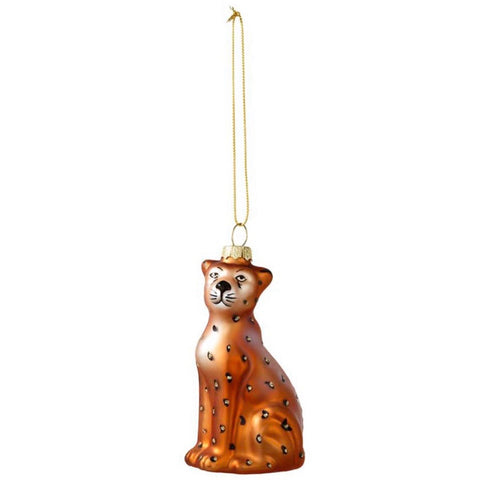 Leopard Glass Christmas Tree Decoration