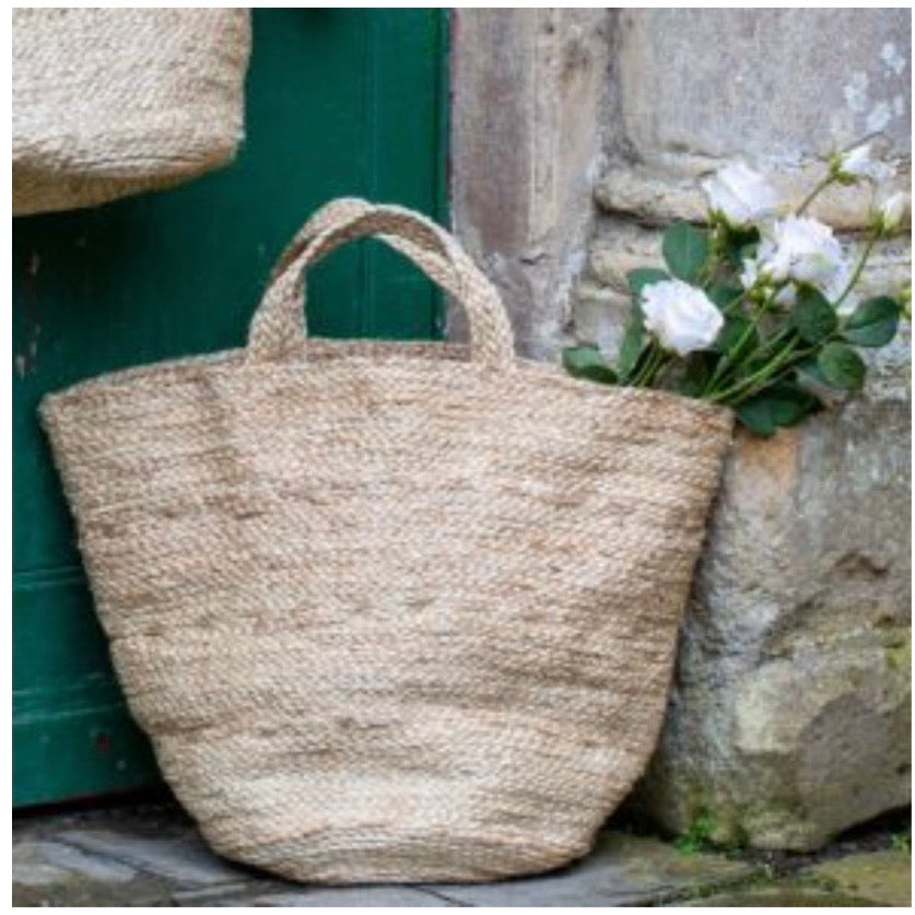 large jute basket bag with handles