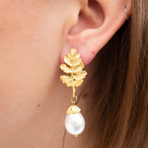 Acorn Grey Pearl Drop Earrings
