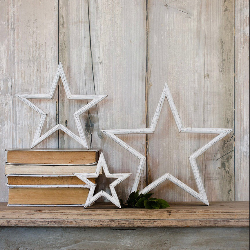 Set of three whitewashed wooden stars