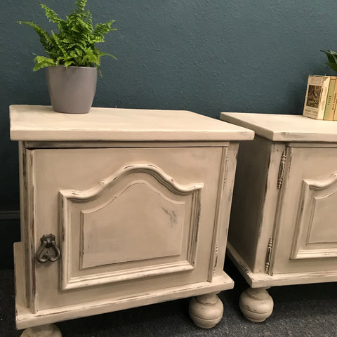 Pair of vintage French Bedside Cabinets pale grey SOLD