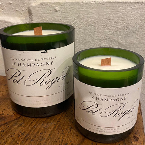 Upcycled Pol Roger Champagne bottle natural candles