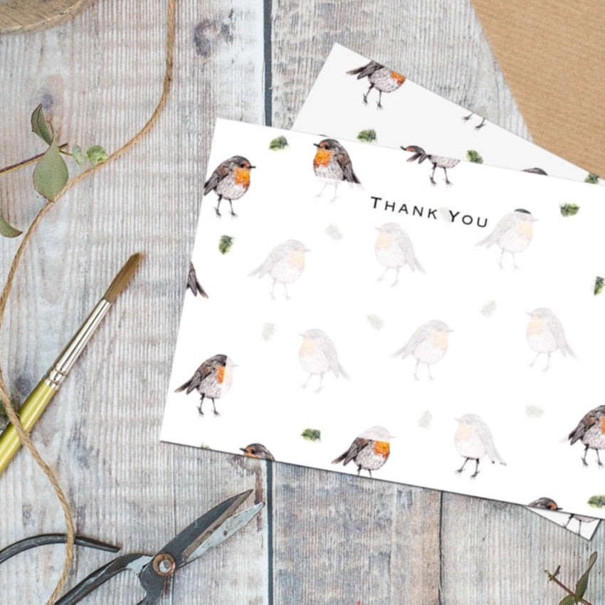 Robin Set of 6 Thank You Cards