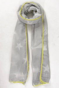 Light Grey Star and Yellow Neon Scarf
