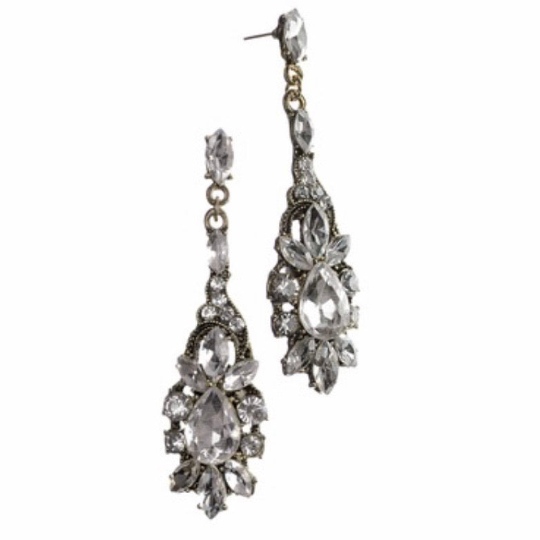 Vintage style crystal drop earrings - La Di Da Interiors
