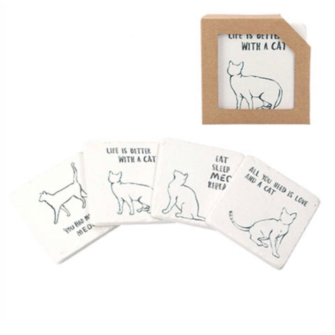 Cat Design Coasters set of 4