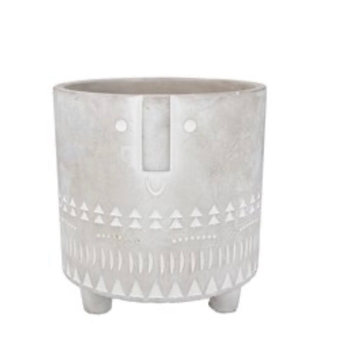 Concrete Face Plant Pot Cover Small