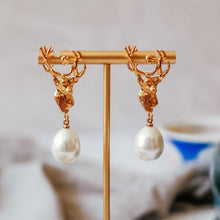 Load image into Gallery viewer, stag pearl drop earrings