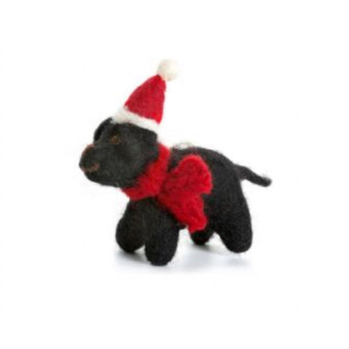 Puppy Black Labrador felt Christmas tree decoration - La Di Da Interiors