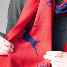 Load image into Gallery viewer, Red & Navy Reversible Stag Scarf