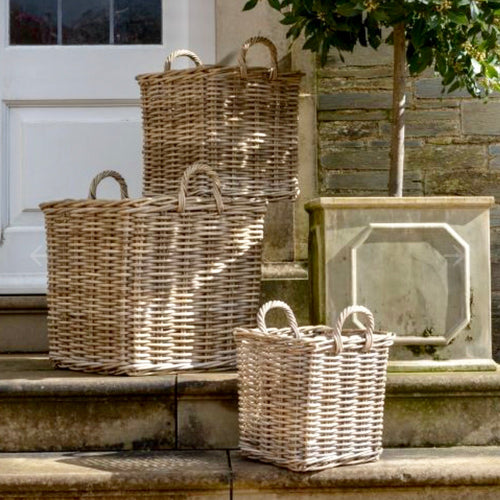 Square kubu log baskets with handles - La Di Da Interiors