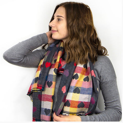 Multi coloured heart scarf in navy or grey