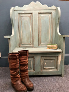 George - Painted Antique Pine Settle SOLD - La Di Da Interiors
