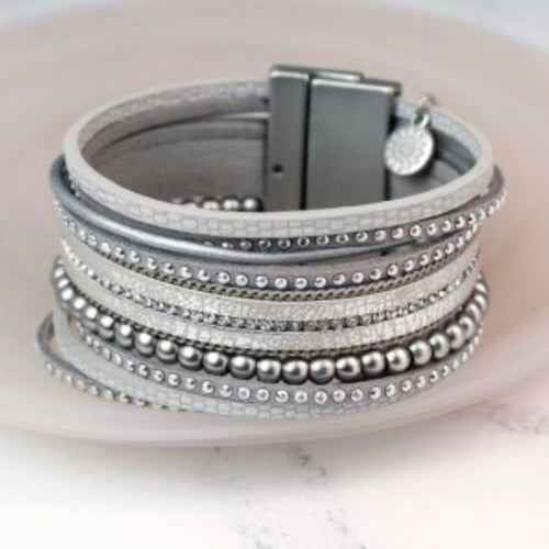 Grey multi strand leather bracelet - La Di Da Interiors