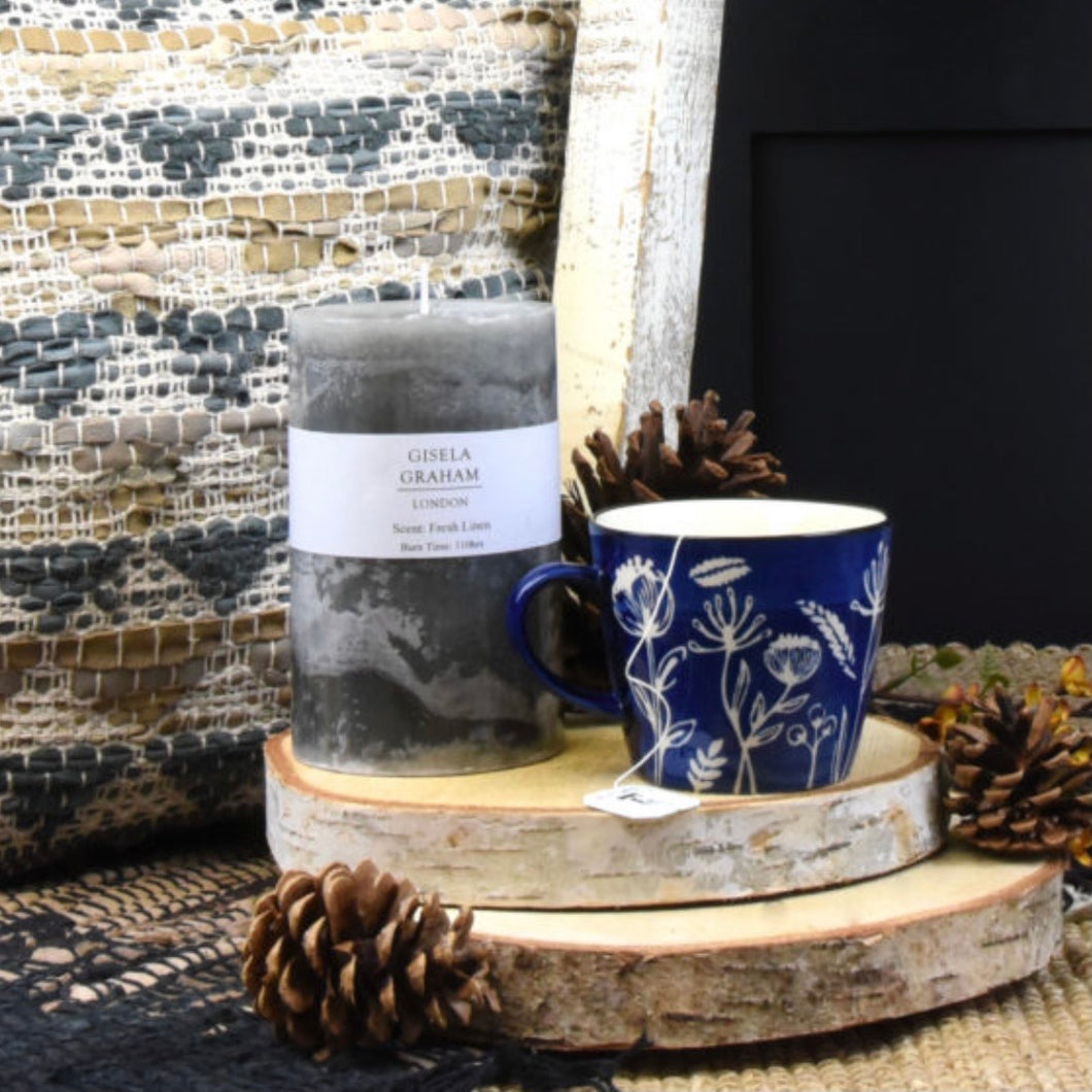 Grey Fresh Linen Scented Pillar Candle