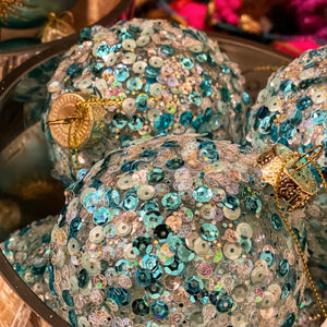 Turquoise Blue & Pale Gold Sequinned Bauble