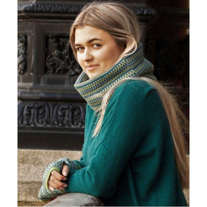Cashmere Blend Geo Wrist Warmers and Snood